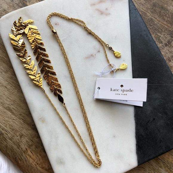 145bf2720d3d2 Kate Spade // A New Leaf Adjustable Slide Necklace NWT